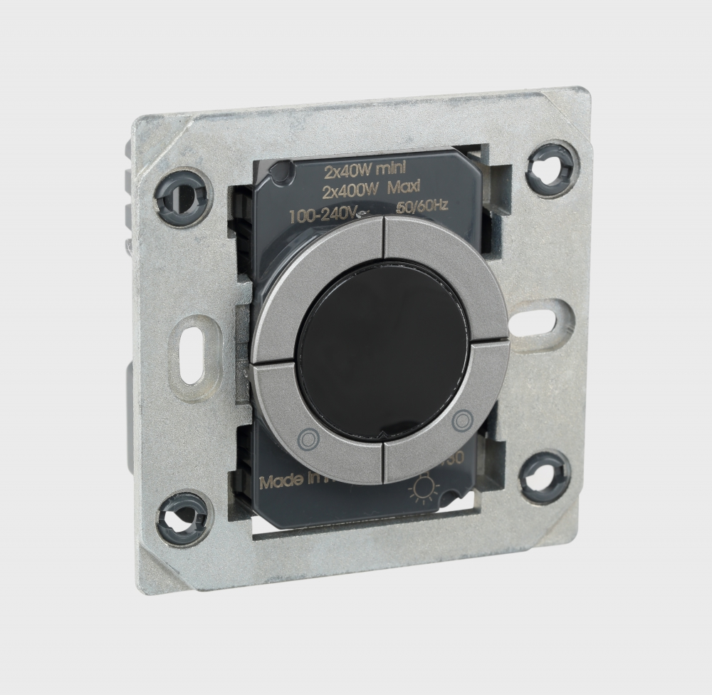 Arteor - 2-way switch 2 x 400 W with LED locator With Magnesium circular push control Supplied with support frame