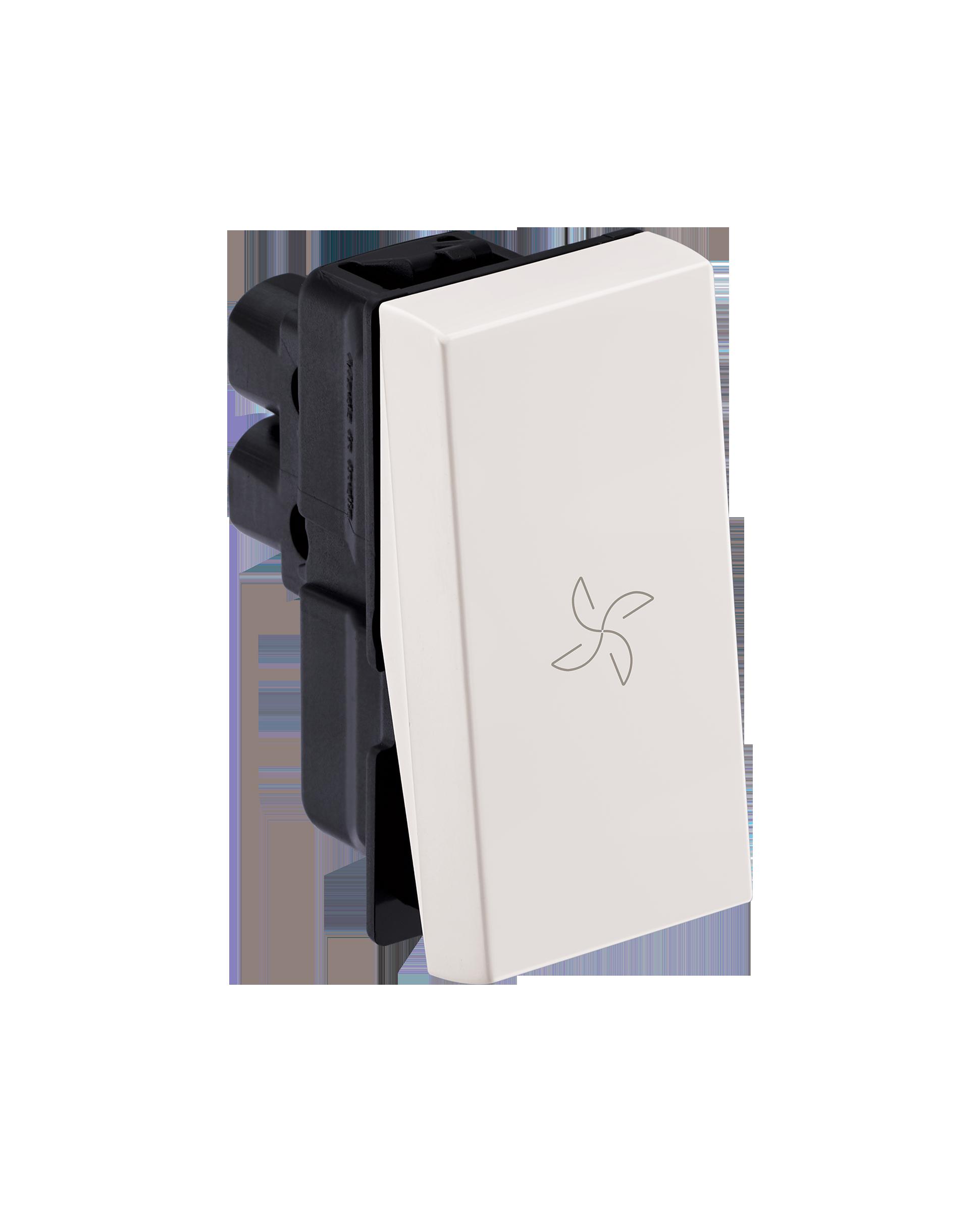 Myrius Nextgen 6A Switch 1 Way 1M With Fan Marking White