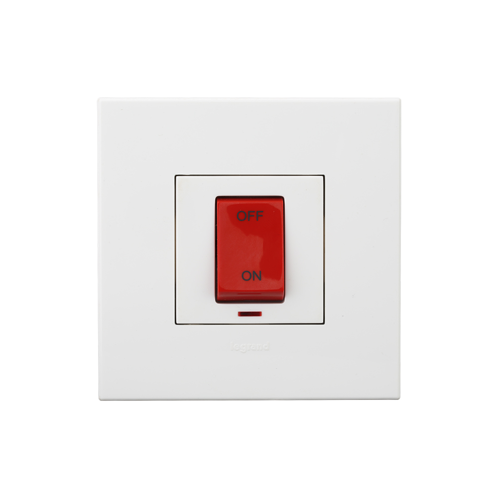 Arteor - 1-way double pole switch with indicator Red indicator supplied 40 A - 230 V~ (White)