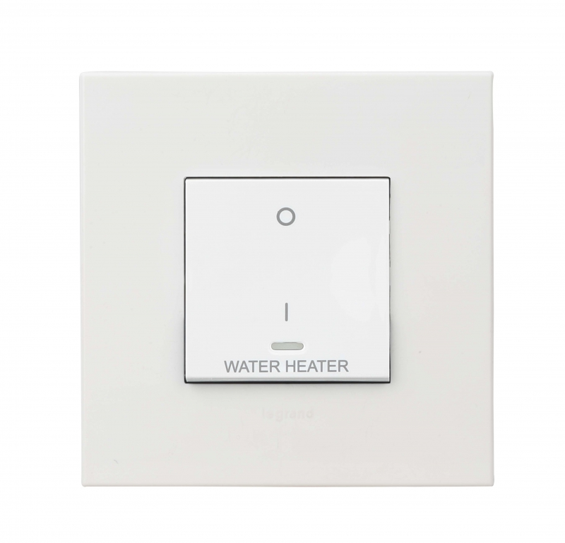 Arteor - 2-way double pole switch with indicator & water heater reading 20 AX - 230 V~ 2 module(White)